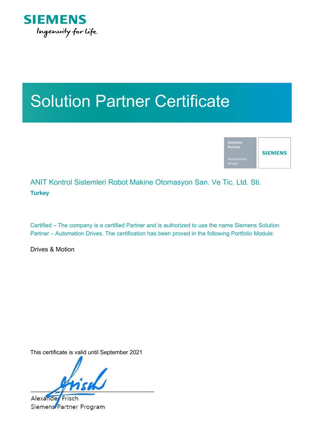 SIEMENS Partner - Drives & Motion