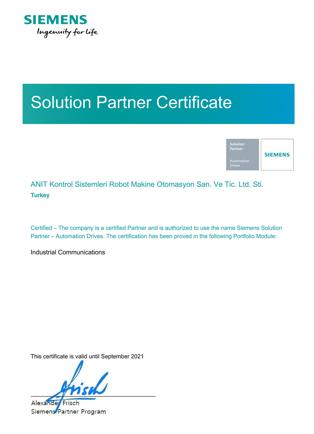 SIEMENS Partner - Industrial Communications